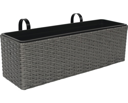 blumenkasten polyrattan 60x18x18 5 cm grau jetzt kaufen bei hornbach sterreich. Black Bedroom Furniture Sets. Home Design Ideas