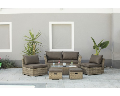 gartenm bel set bologna polyrattan 6 tlg braun grau jetzt kaufen bei hornbach sterreich. Black Bedroom Furniture Sets. Home Design Ideas