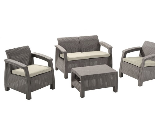gartenm bel set corfu polyrattan 4 teilig beige jetzt kaufen bei hornbach sterreich. Black Bedroom Furniture Sets. Home Design Ideas