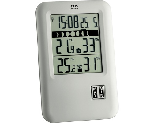 tfa funk thermometer digital mit uhr jetzt kaufen bei hornbach sterreich. Black Bedroom Furniture Sets. Home Design Ideas