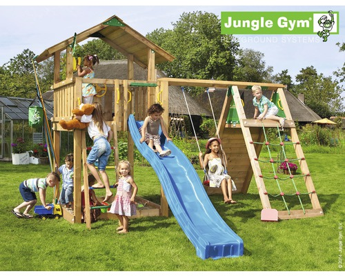 spielturm jungle gym chalet climb modul inkl rutsche blau jetzt kaufen bei hornbach sterreich. Black Bedroom Furniture Sets. Home Design Ideas