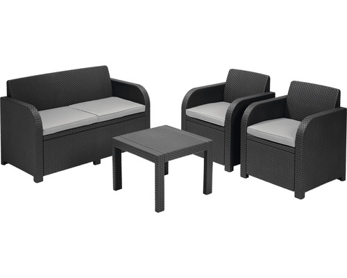 gartenm bel set lounge georgia rattanoptik 4teilig grau jetzt kaufen bei hornbach sterreich. Black Bedroom Furniture Sets. Home Design Ideas