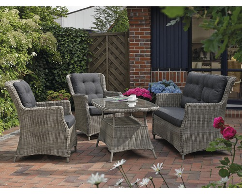 gartenm bel set destiny casa polyrattan 4teilig grau inkl polster anthrazit jetzt kaufen bei. Black Bedroom Furniture Sets. Home Design Ideas