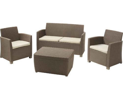 gartenm bel set jardin corona polyrattan 4 teilig cappuccino sand jetzt kaufen bei hornbach. Black Bedroom Furniture Sets. Home Design Ideas